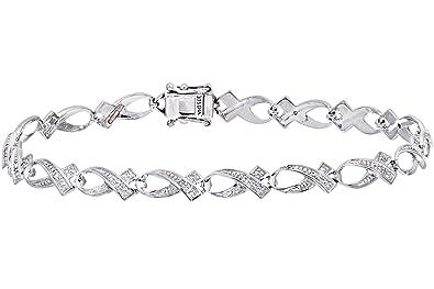 Naava Women's Diamond Bracelet, 9 ct White Gold, Bezel Setting 0.06 ct Diamond Weight, Model PBC2047