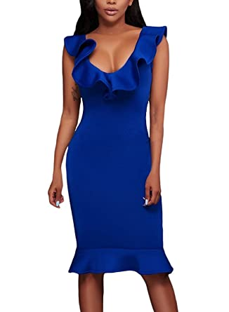 48521ff2905e Women s Elegant Off Shoulder Ruffle Party Bodycon Mermaid Midi Dress Blue S