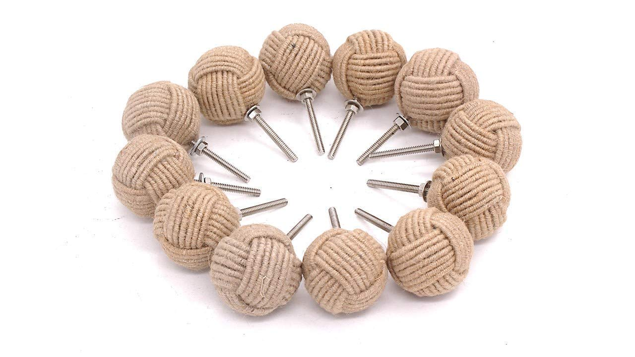 Lot of 12 Monkey Fist Jute Rope Shelves Drawer Knobs (6 pair) Roorkee Instruments
