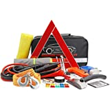 CYECTTR Car Emergency Kit with Jumper Cables,Safety Hammer,Tire Pressure Gauge - Auto Vehicle Safety Road Side Assistance Kit