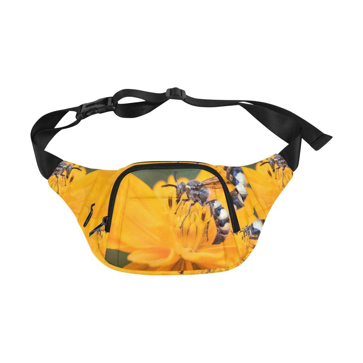 A European Wasp Pattern Fenny Packs Waist Bags Adjustable Belt Waterproof Nylon Travel Running Sport Vacation Party For Men Women Boys Girls Kids