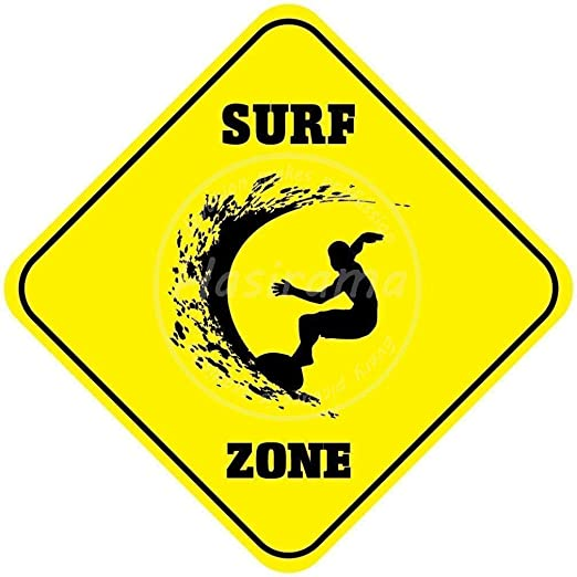 Shunry Surf Zone Placa Cartel Vintage Estaño Signo Metal De ...
