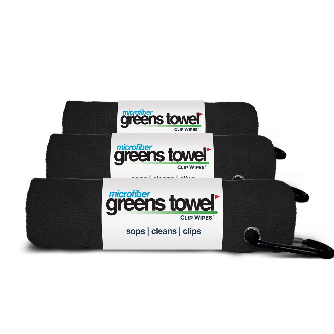3 Pack of Jet Black Microfiber Golf Towels by Greens Towel