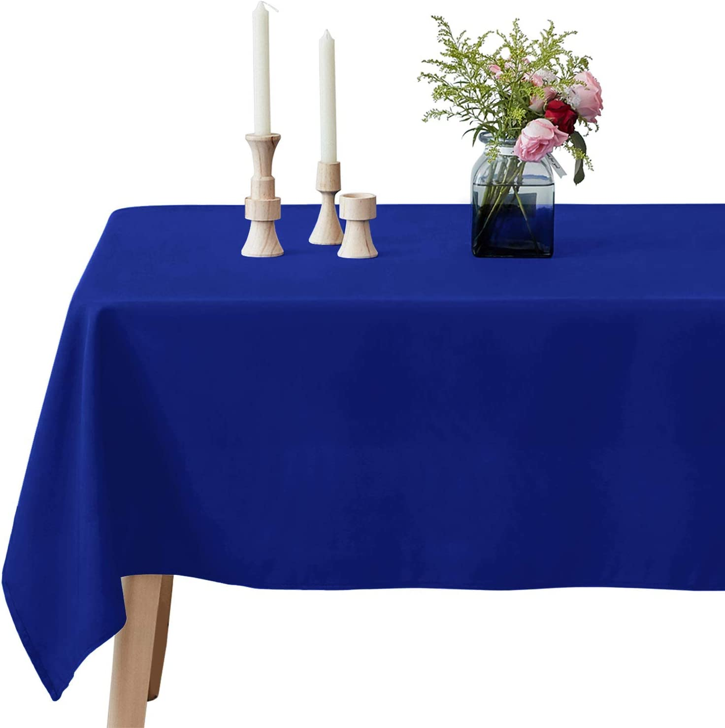 VEEYOO Rectangular Tablecloth 100% Polyester Oblong Table Cloth for Bridal Shower – Solid Soft Oval Table Cover for Wedding Party Restaurant Party Buffet Table (Royal Blue, 60x126 inch)