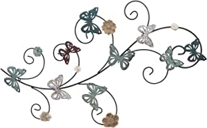 Adeco Flower and Butterfly Urban Design Metal Wall Decor for Nature Home Art Decoration - 35x19 Inches