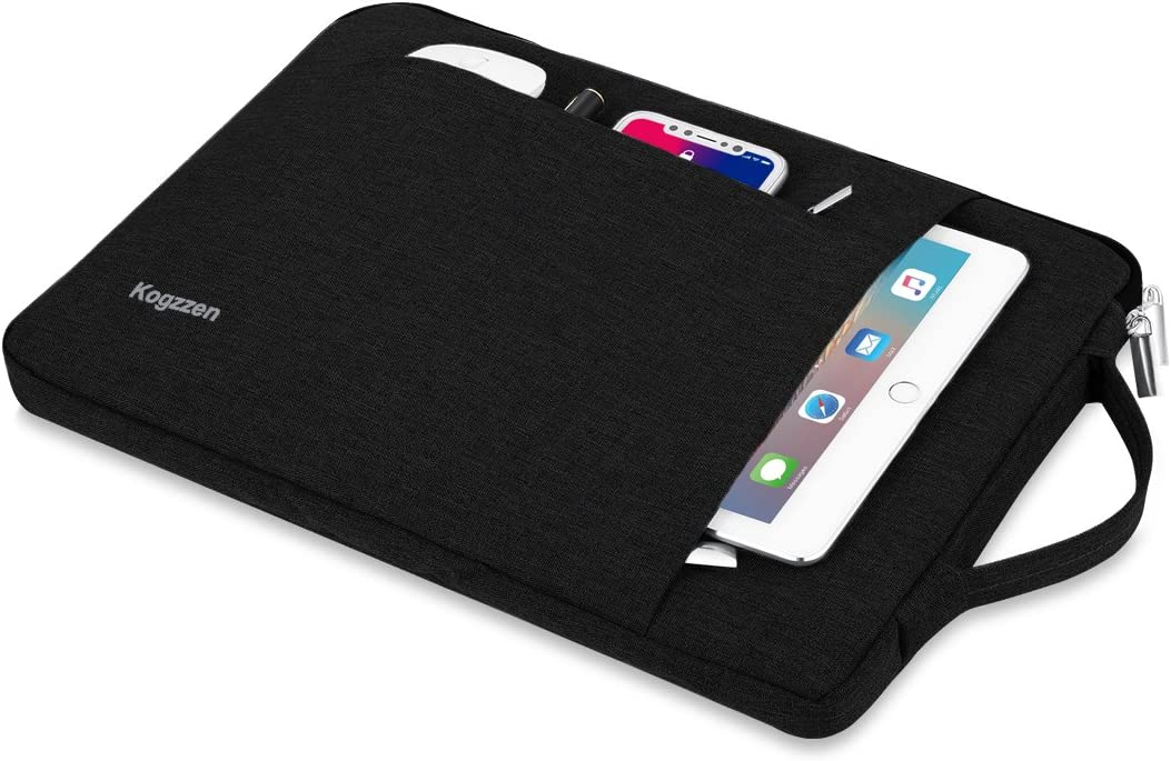 Kogzzen 11 11.6 12 Inch Laptop Sleeve Tablet Case Compatible with MacBook 12// MacBook Air 11.6// Surface Pro Chromebook Dell Samsung HP Acer Asus Waterproof Notebook Bag Black