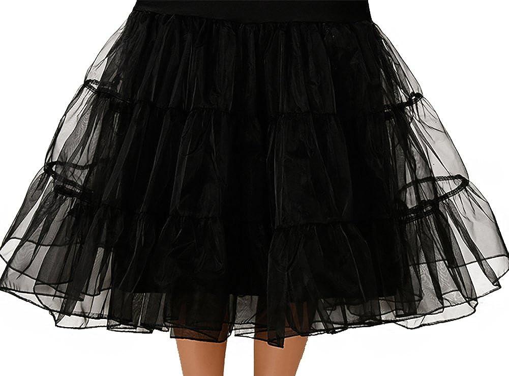 OCTOPUSIR Womens Frilly Petticoat Underskirts Knee Length Crinoline 50s Retro Vintage Fla Tulle Voile Net Skirts Dresses for Bridesmaids Party Tutu Half Slips Rockabilly Swing