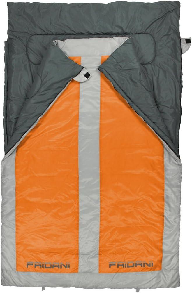 22/°C warm water resistant washable Fridani 2 person sleeping bag QO 225x140 XXL blanket orange