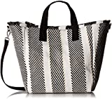 Steve Madden Rumi Multi Colored Woven GEOMTRIC Pattern Beach Tote with Zipper Pouch, Black
