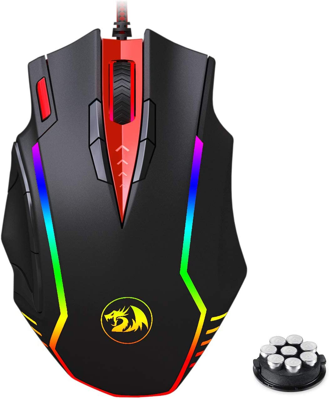High Precision Sensor 12400 DPI Weight Tuning Set Redragon M902 PC Gaming Mouse with Side Buttons RGB Backlit USB Wired Samsara Mouse for Windows PC FPS Games Black