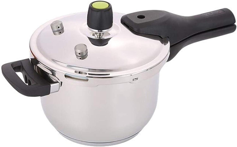 Pressure cooker, 304 stainless steel pressure cooker, household pressure cooker, gas cooker universal double bottom pressure cooker 5L, 6L, 8L (Color : Silver, Size : 6L)