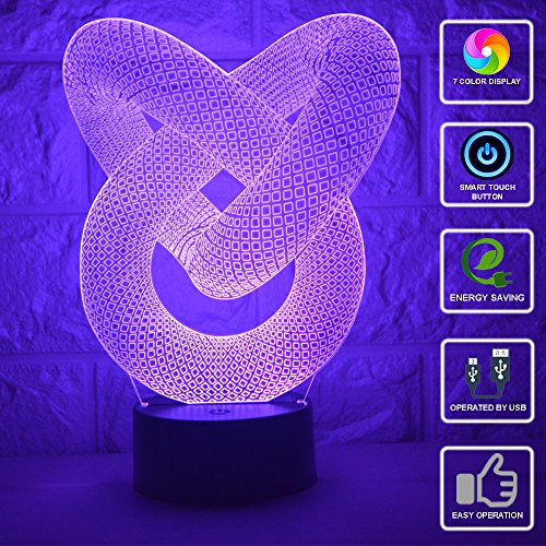 3D Illusion Night Light LED Desk Table Lamp 7 Color Touch Lamp Art Sculpture Lights Birthday Gift for Kids Bedroom Decor (abstract)