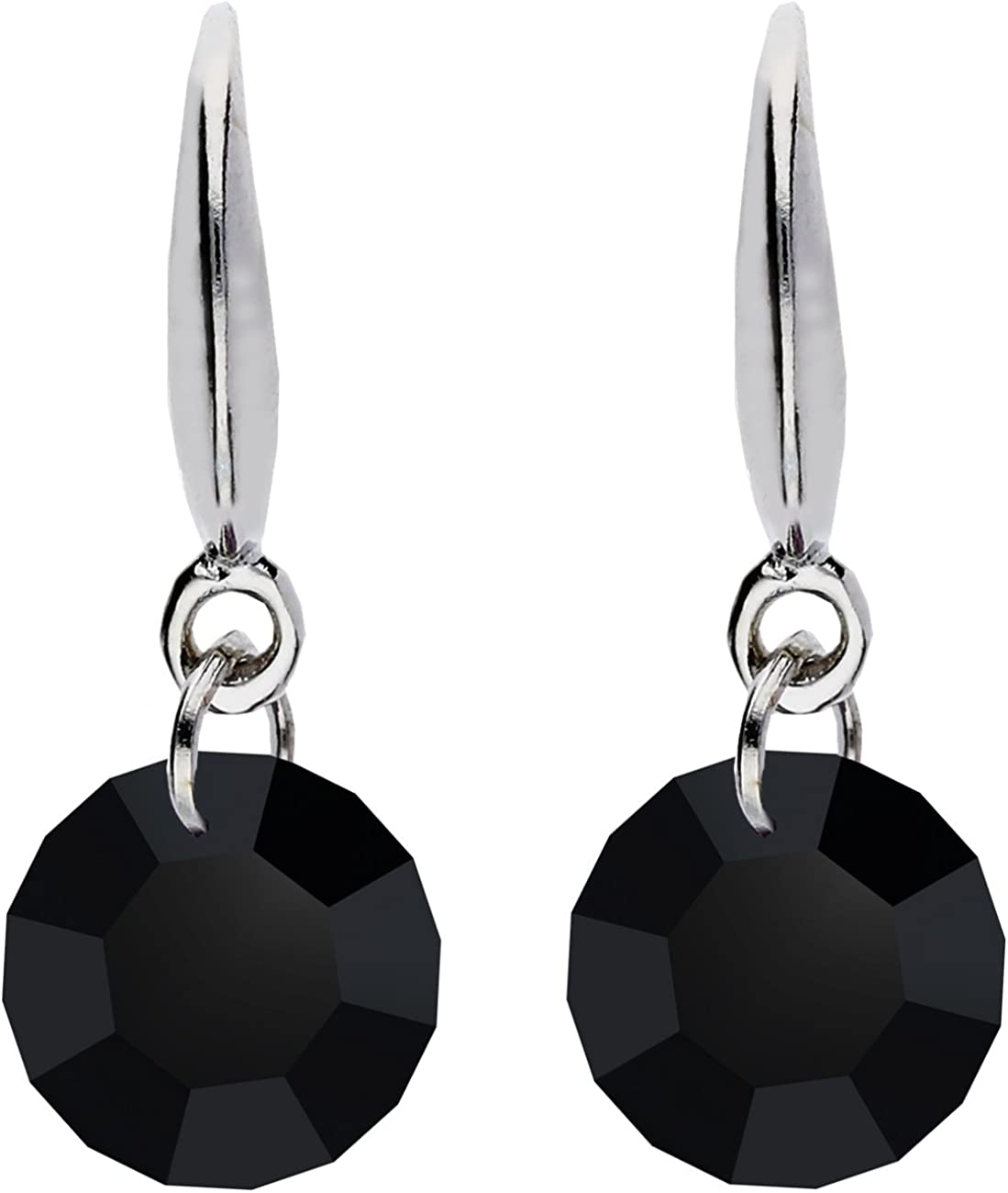 Mya Art–Pendientes plata de ley 925con circonitas piedra cristal colgante Onyx Negro, Pequeño y redondo Pendientes hängend myawg de oído de 81B