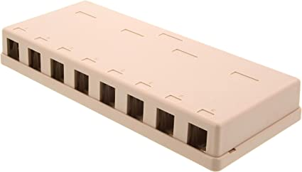 5 Pcs Blank Surface Mount Box 1 Port Modular Keystone Jack Cat5e//Cat6 RJ45 Ivory