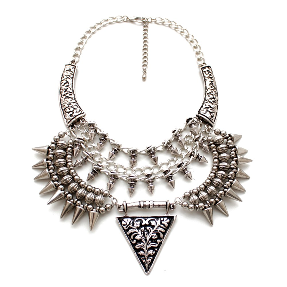 FEDNON Vintage Anti Silver Gold Tone Long Boho Statement Necklace Triangle Tassel Bohemian Indian Jewelry Choker Necklaces