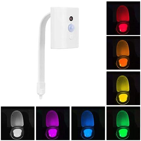 Lámpara de inodoro LED Luz de WC 16 Colores con Sensor de Movimiente Iluminación Nocturna para