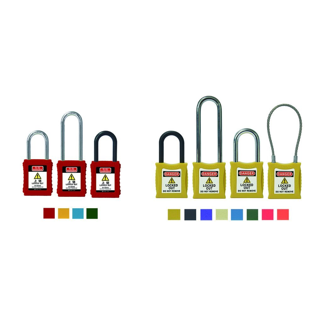 Wotefusi Brand New Industrial Security Padlocks Engineering Plastics Safety Lock Out Key Steel Wire Rope Shackle Green Body