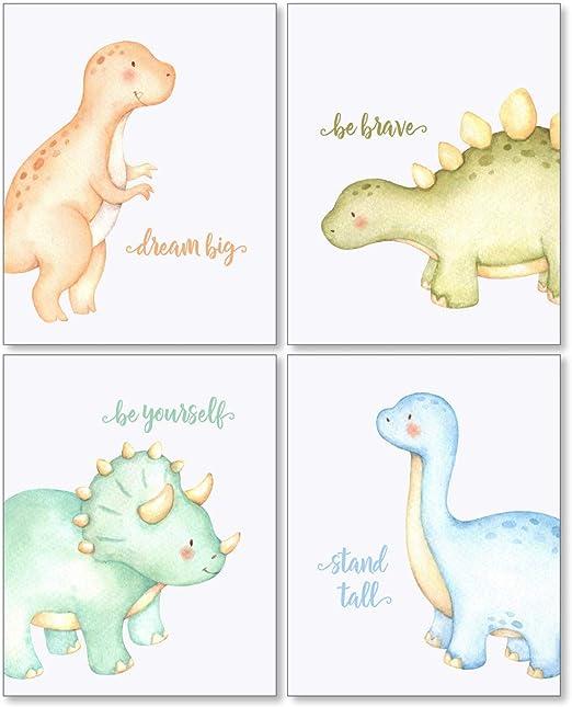 Dinosaur Nursery Print Set Of 3New Born Baby Boy Christening GiftsUnframed