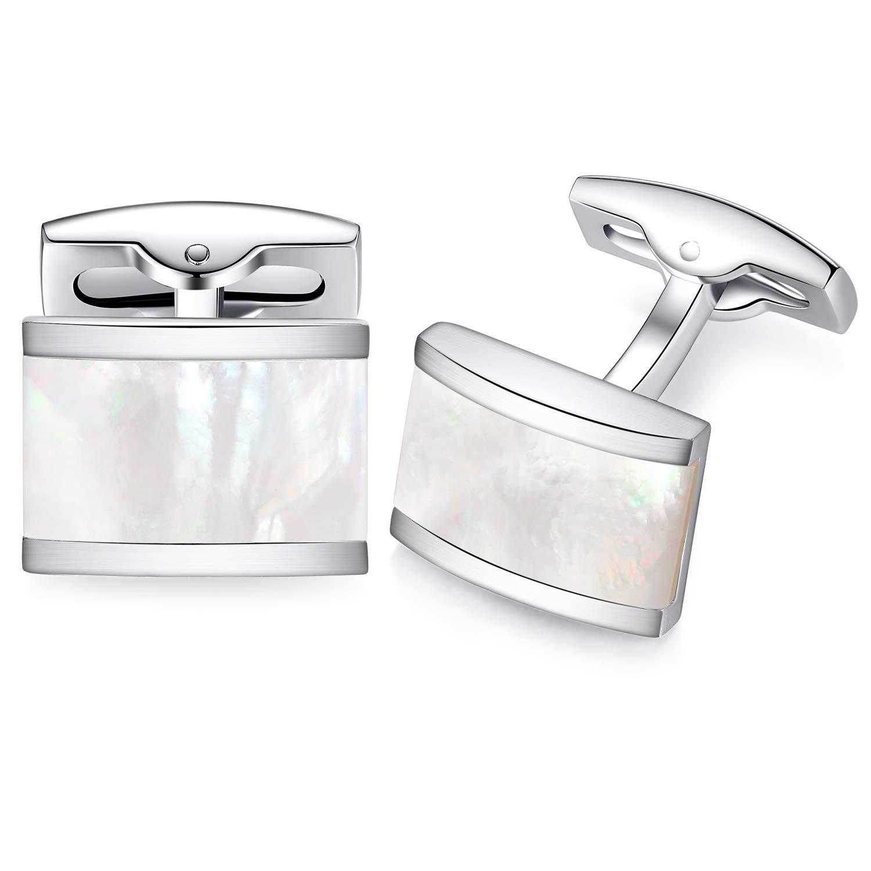 HONEY BEAR Rectangle Cufflinks for Mens Steel Business Wedding Gift White Shell