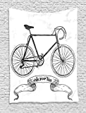 asddcdfdd Bicycle Decor Wall Hanging Tapestry, Sexy Outrageous Young Lady Chewing Gum on Her Bike in the Street Sketchy Illustration, Bedroom Living Room Dorm Decor, 60WX80L Inches, Grey White