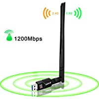 USB WiFi Adapter 1200Mbps,USB 3.0 Wireless Network WiFi Dongle with 5dBi Antenna for PC Desktop Laptop Mac, Dual Band 2…