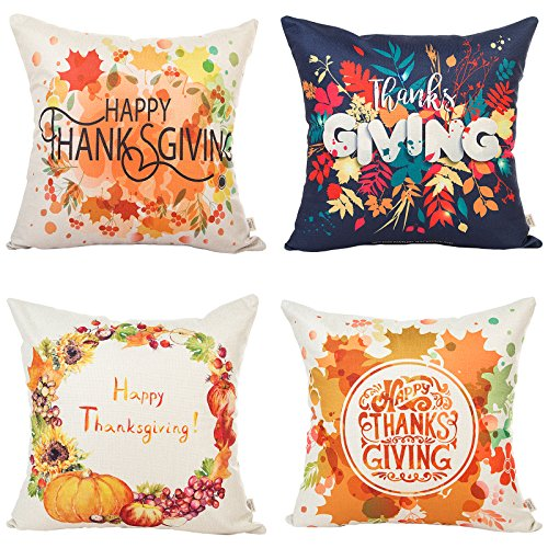 """HOSL 4 Pack GE03 Happy Thanksgiving Day Turkey Day Decorative Pillow Cover Case 18"""" X 18"""""""