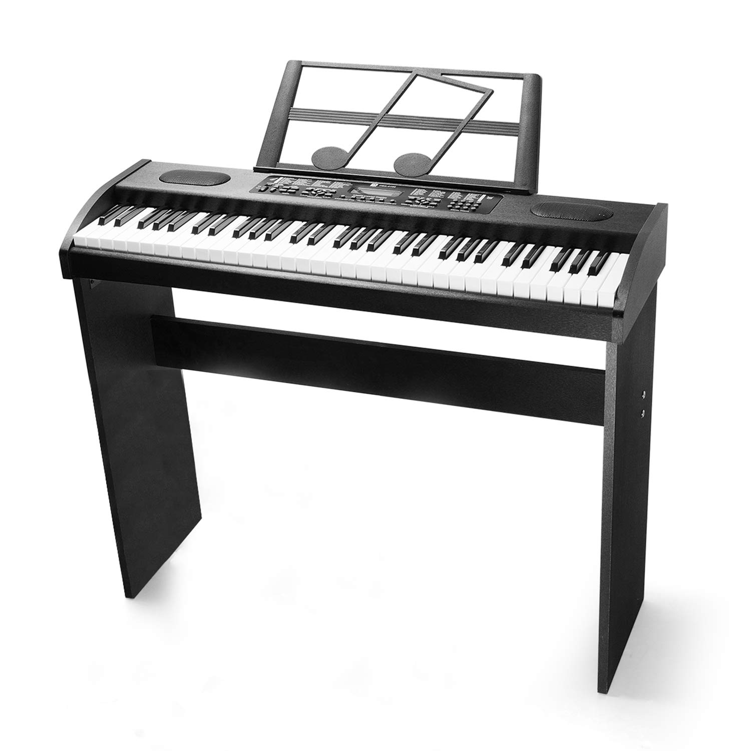 Vangoa VGK6100 61-Key Electronic Piano Keyboard with Stand, LCD Display Music, Black