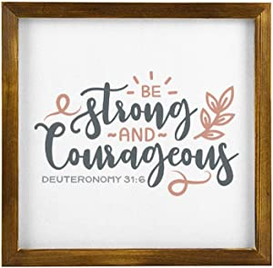 Strong & Courageous Bible Wood Framed Sign Wall Art Decor Christian Verse Sign Wooden Plaque Home Decor Picture Artwork