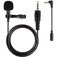 Micro Cravate pour Téléphone, Gyvazla 3.5mm Audio Jack Omnidirectionnel Microphone Condensateur Tie Clip on pour Youtube / Interview / Podcast / Vidéo, Projet pour IOS / Andriod / Windows / Mac (2m)