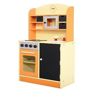 Amazon.com: Giantex Wood Kitchen Toy Kids Cooking Pretend Play Set ...