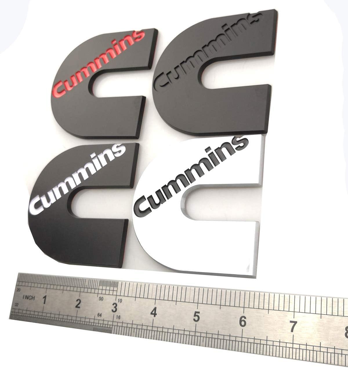 2pcs Cummins logo 3D badge Stickers Emblems Door Tailgates Nameplate Letter Fender Decals Chrome