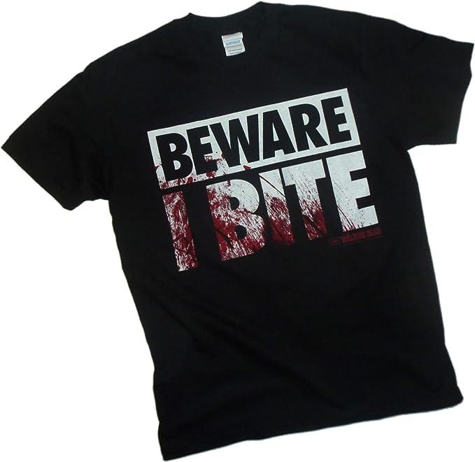 Beware I Bite Flip-Up Reversible Mask - The Walking Dead Camiseta, XXL: Amazon.es: Ropa y accesorios