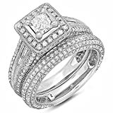 2.30 Carat (ctw) 14k White Gold Princess and Round Diamond Ladies Halo Style Bridal Engagement Ring Set With Matching Band 2 1/3 CT (Size 9)