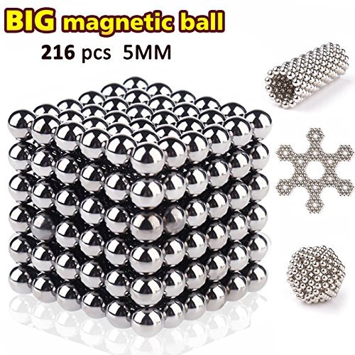 Synmila Magnetic Fidget Toy with 216pcs Rollable Magnets Fidget Toys For Anxiety Stress Helps Focusing Magnetic blocks Sculpture Toys Decoration Bright Silver
