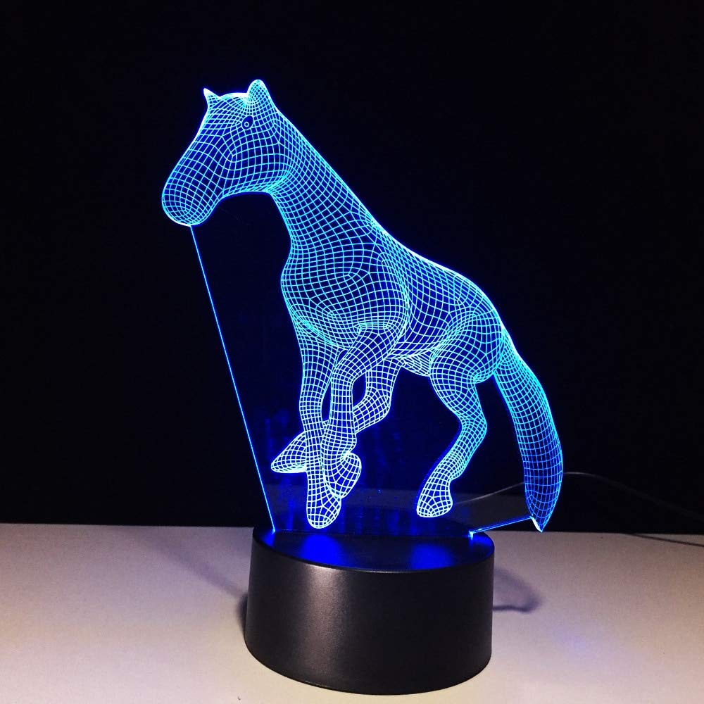 Nuevo Animal Horse 3d Nightlight 7 Color Touch Remote Usb 3d ...