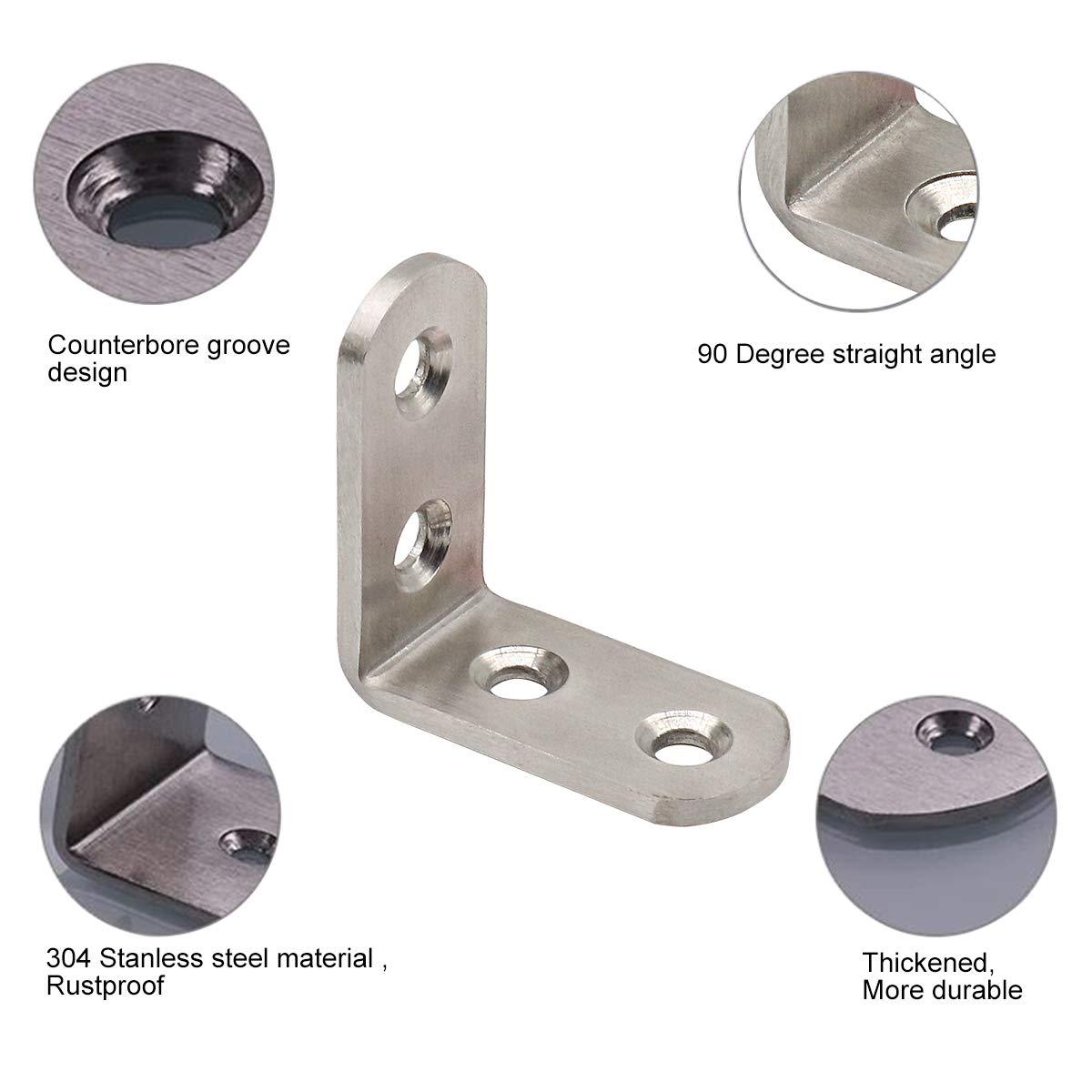 4 Piezas Soportes de Esquina tres agujeros 90 Grados Soporte de /ángulo de Acero Inoxidable en Forma de L /ángulo Recto Soportes