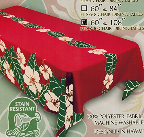 Hawaiian Fabric Tablecloth 60-inch By 108-inch (Christmas, Holiday) by Kauhale Living
