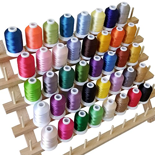 FLASH SALE I Embroidery Thread - 40 Variety Polyester Spools, Beautiful Colors Perfectly Match Brother/Singer Machines, 550 Yard/ Spool, + 2 Free Bonus