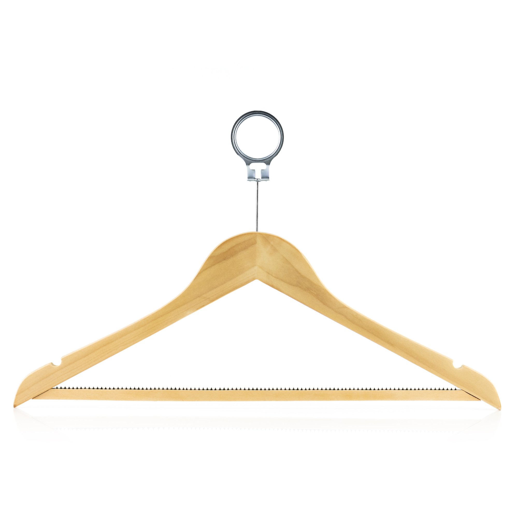 HANGERWORLD 18 Inch Wooden Hotel Clothes Hangers with Non Slip Pants/Skirt Bar & Metal Security Ring, Pack of 10