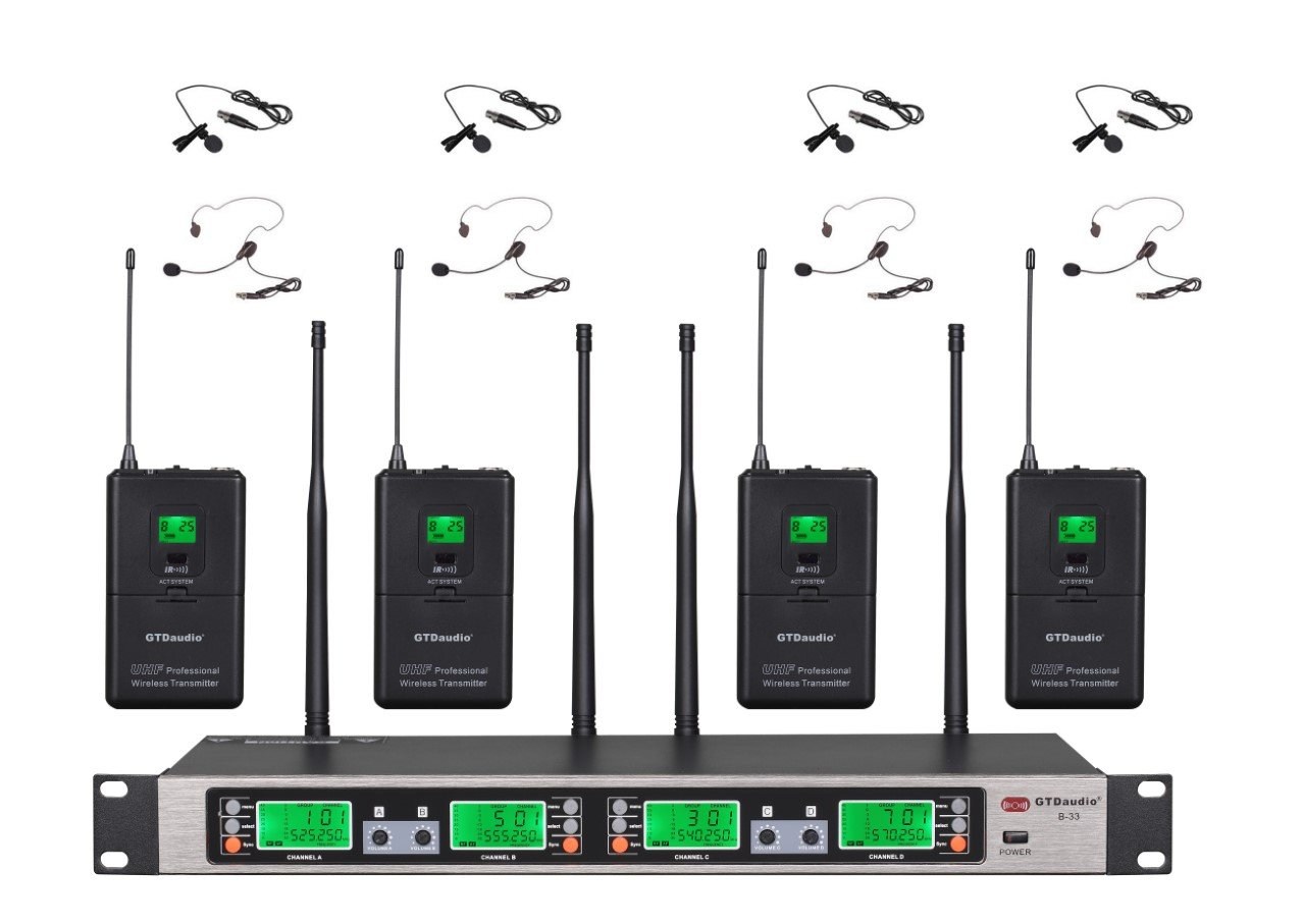 GTD Audio UHF 4 x100 Selectable Frequency Channel Professional 4 Wireless Lapel Lavalier microphone Mic System
