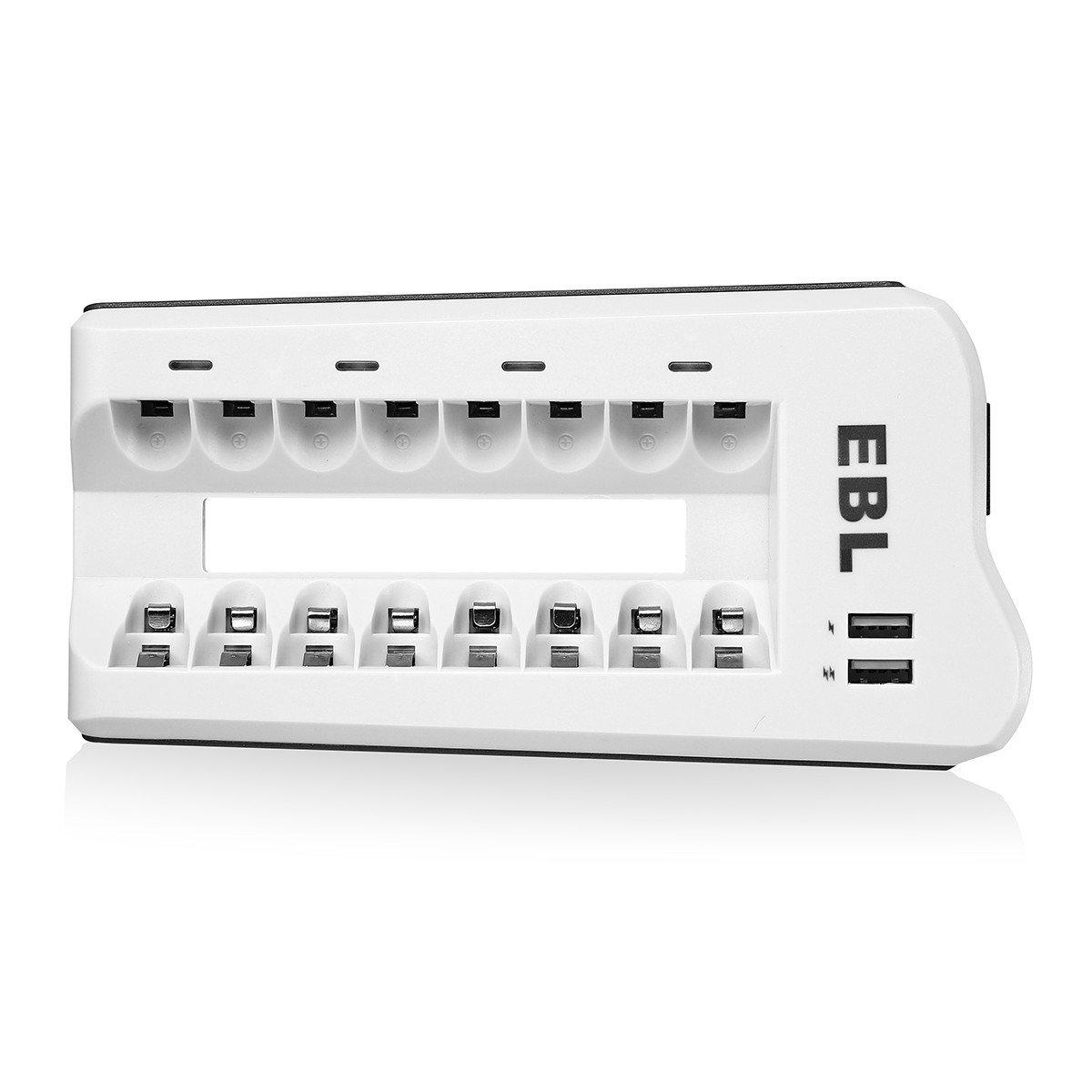 EBL Batterieladegerät mit 8 Stecker und 2 USB Port für Ni-MH Ni-CD AA AAA Akkus