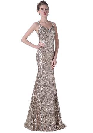 Annas Bridal Womens Spaghetti Straps Sequin Long Prom Dresses Gold Bridesmaid Dress US2
