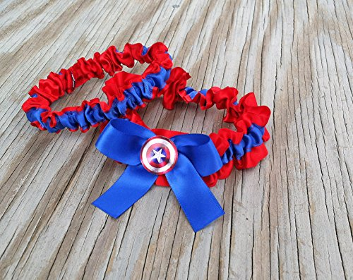 SEXY Superhero Character Inspired Red Royal Blue & Red Bridal Satin Wedding Keepsake Or Garter ()