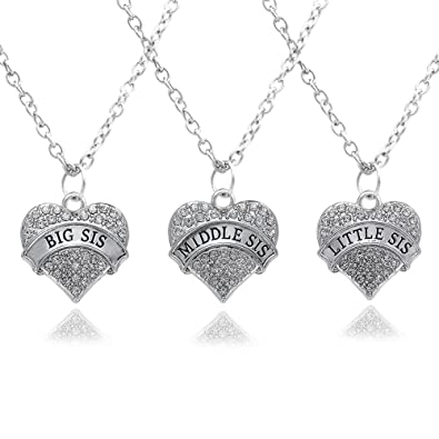 3pcs silver clear crystal big middle little sister love heart 3pcs silver clear crystal big middle little sister love heart pendant necklace family jewellery women gift mozeypictures Gallery