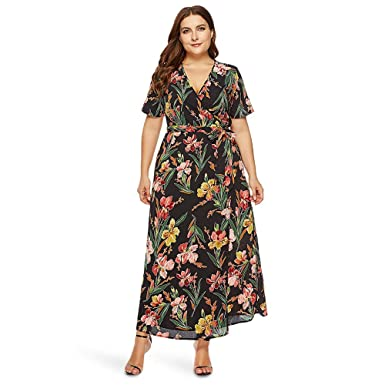 f0814d8f0fc Image Unavailable. Image not available for. Color  EbuyChX Plunge Neck  Short Sleeve Floral Print Belted Plus Size Women Maxi Dres Black XL