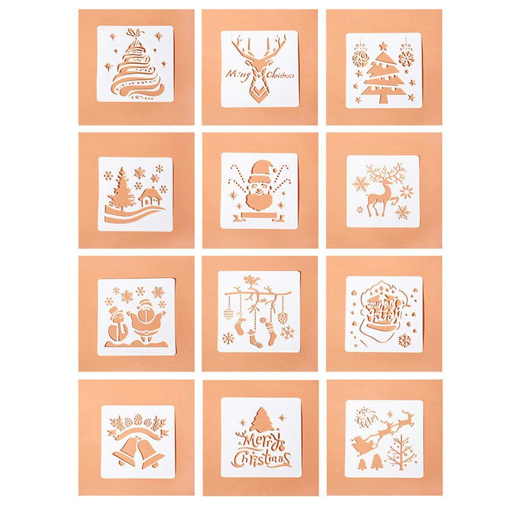 FOONEE Merry Christmas Stencil, Paint Stencils for DIY Manual Album, Reusable Drawing Stencil for Kids - Spraying Window Glass Door Scrapbook, Xmas Snowflake DIY Decoration (pack of 12)