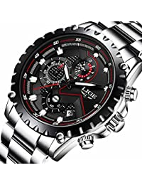 Mens Watches Fashion Sports Quartz Watch Stainless Steel Silver with Gold Strap Top Brand Luxury Simple Style Business Watch Waterproof 30M (Silver with Black)