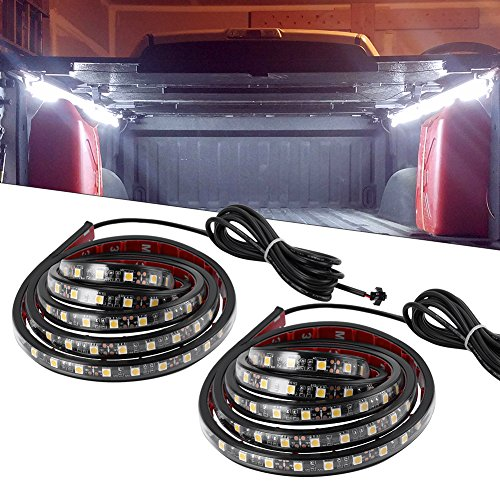 YITAMOTOR 2PCS 60in White Truck Bed Lights Waterproof Tailgate Light Bar Strip with On-off Switch for RV SUV Jeep Pickup Truck Cargo (Bars Pickup Step Trucks)