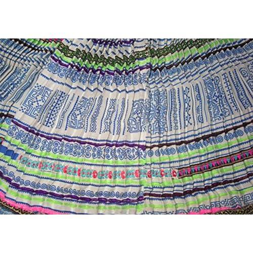 100% Fait Main Mode Ethnique Mini Jupe Longue Plissée Trapèze Coton Brodée #231