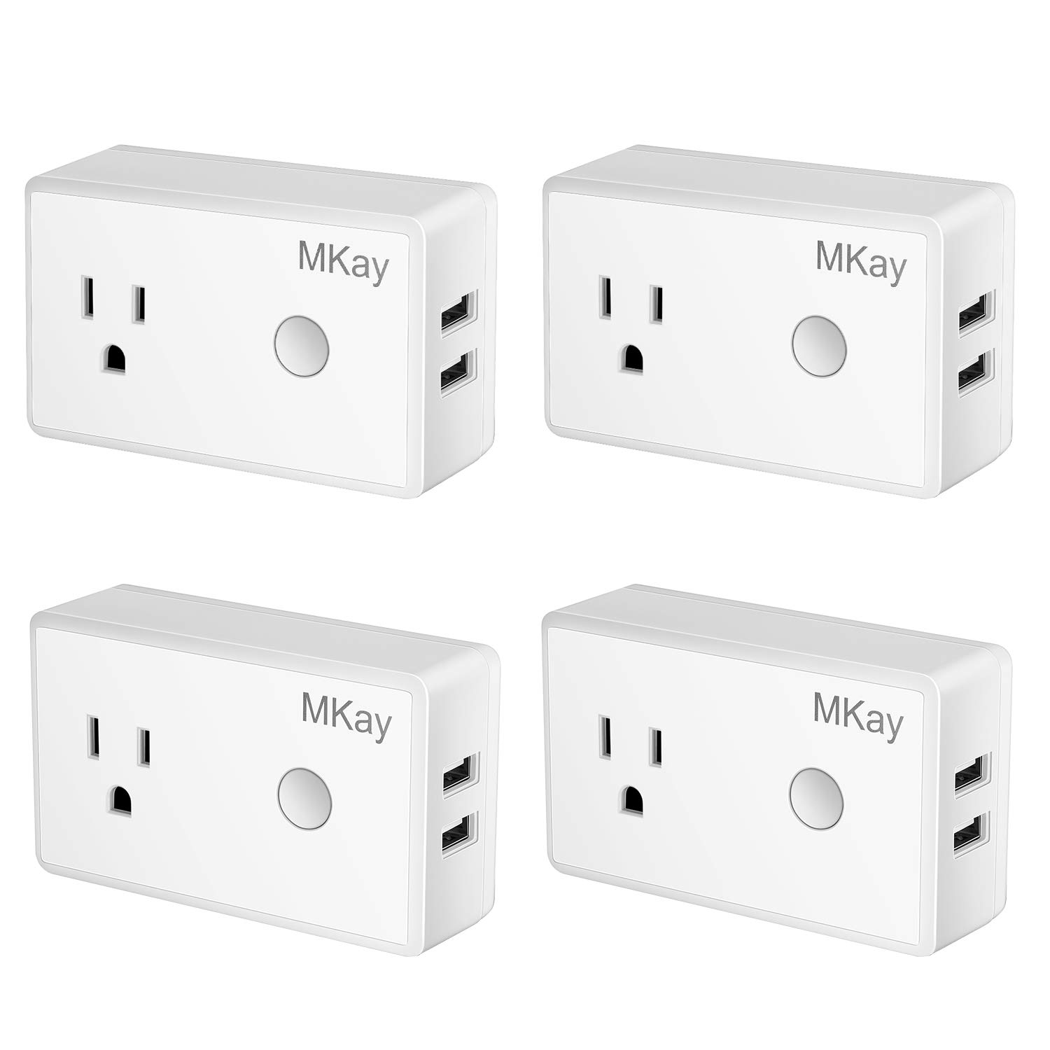 Wifi Smart Plug, Mkay Mini Wireless Outlet Electrical Socket With 2 USB Ports,Compatible with Alexa Echo and Google Home, Remote Control Timer Function On/Off Switch, No Hub Required(4 Pack)